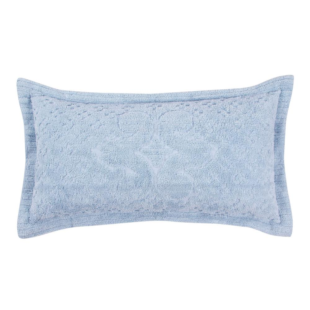 Ashton Collection in Medallion Design Blue King 100% Cotton Tufted Chenille Sham