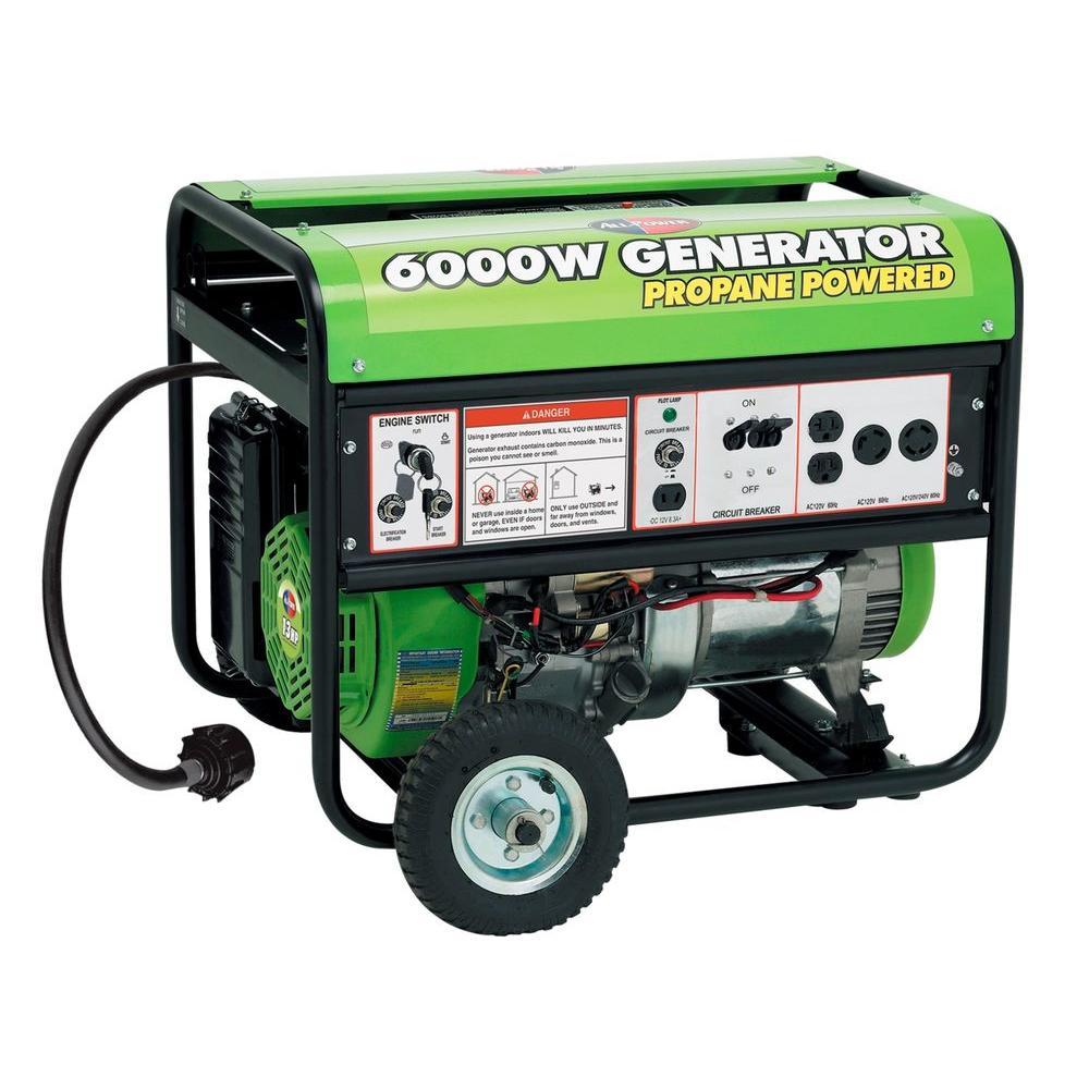 5000-Watt Electric Start Propane Gasoline Powered Portable Generator with Mobility Kit