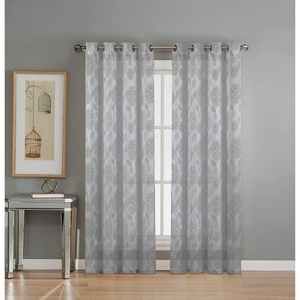 Window Elements Sheer Avery Cotton Blend Burnout Extra Wide 84 In L Grommet Curtain