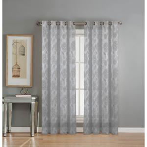 Window Elements Sheer Avery Cotton Blend Burnout Sheer Extra Wide 84 inch L Grommet Curtain Panel Pair, Silver (Set of... by Window Elements