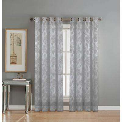 Sheer Avery Cotton Blend Burnout Sheer Extra Wide 84 in. L Grommet Curtain Panel Pair, Silver (Set of 2)