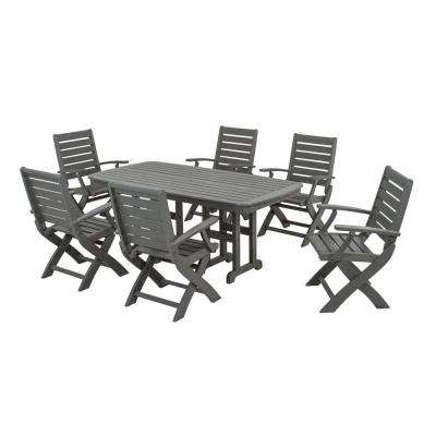 Signature Slate Grey 7-Piece Plastic Outdoor Patio Dining Set