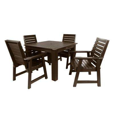 Weatherly Weathered Acorn 5-Piece Recycled Plastic Square Outdoor Dining Set