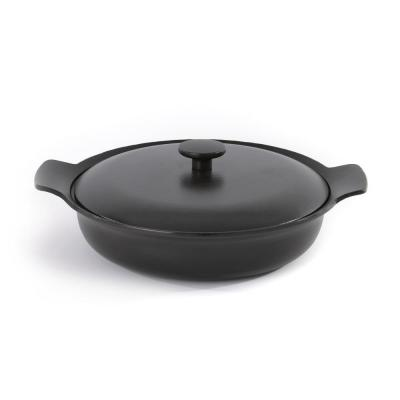 Ron 11 in. Cast Iron Skillet in Black with Lid