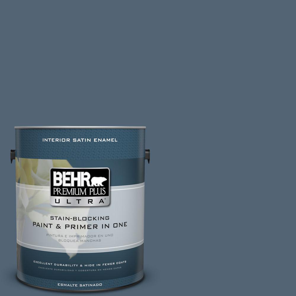 1 gal. #570F-6 Mood Indigo Satin Enamel Interior Paint and Primer