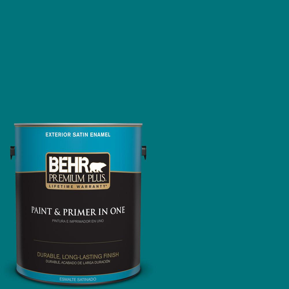 1 gal. #T15-3 Essential Teal Satin Enamel Exterior Paint