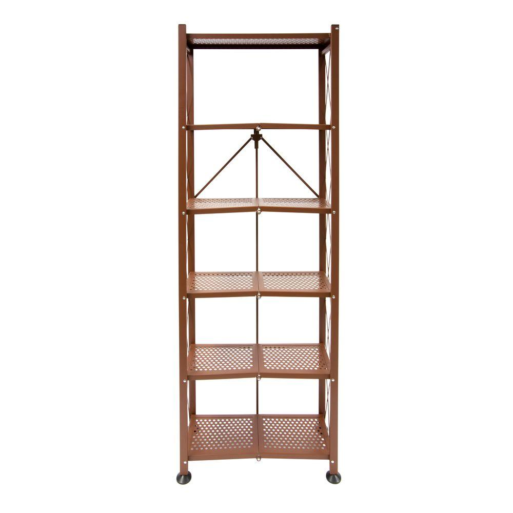 Origami 6 tier folding multipurpose bookcase in white rb 03 the this review is from6 tier steel folding multipurpose bookcase in bronze jeuxipadfo Choice Image