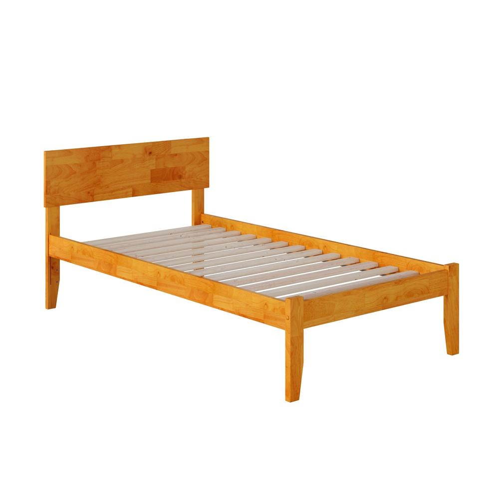 Orlando Caramel Latte Twin Platform Bed with Open Foot Board