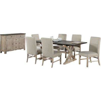 Ellington 8-Piece Dining Set with Expandable Trestle Table and 6-Fabric Chairs and Sideboard