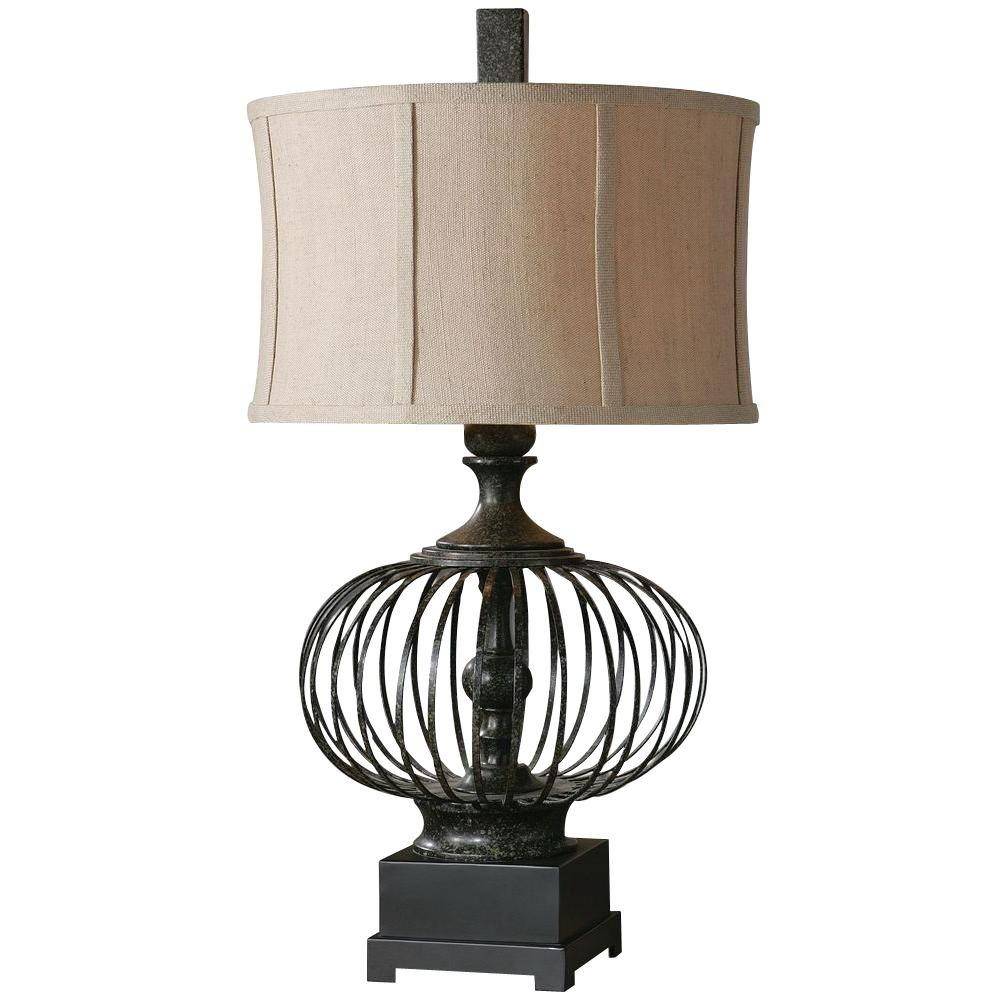 Global Direct 31 in. Rustic Black Metal Table Lamp