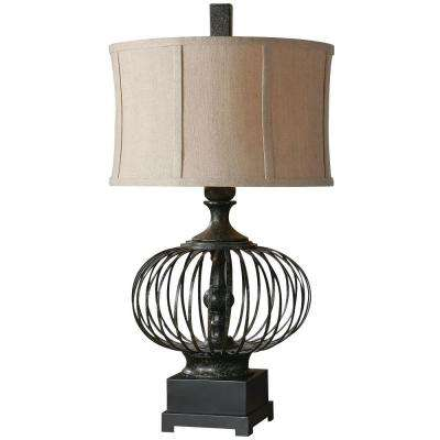 31 in. Rustic Black Metal Table Lamp