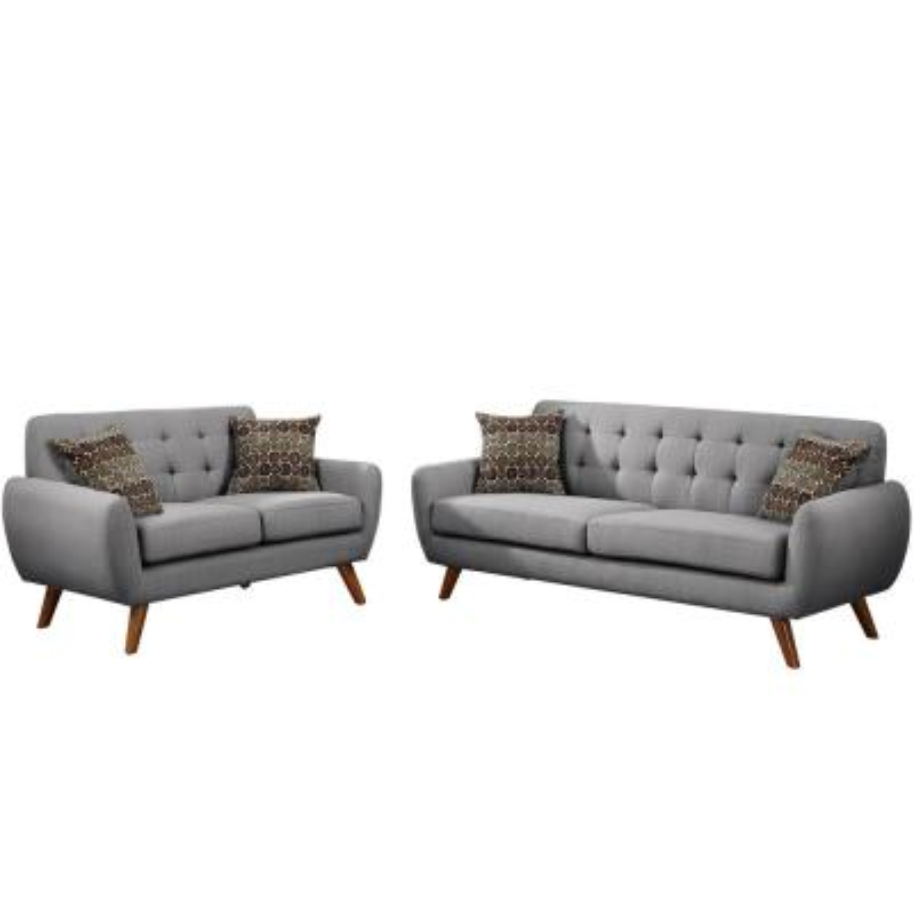 Brescia 2-Piece Gray Sofa Set