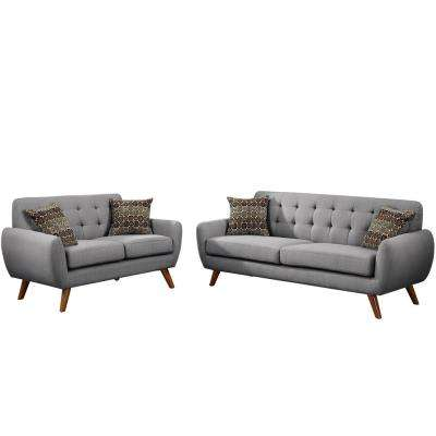 Brescia 2-Piece Gray Sofa Set