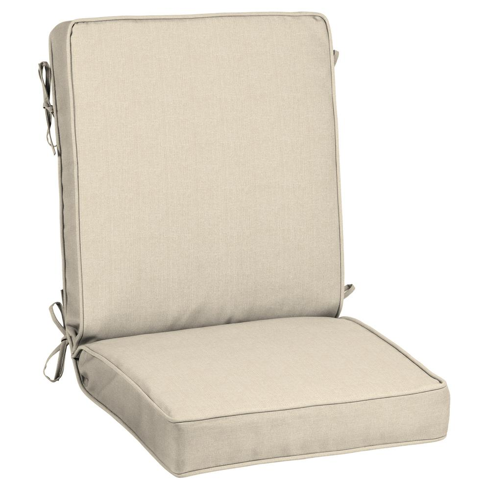 21 x 20 Outdoor Dining Chair Cushion in Sunbrella Canvas Flax