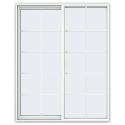 47.5 in. x 59.5 in. V-2500 Series White Vinyl Left-Handed Sliding Window with Colonial Grids/Grilles
