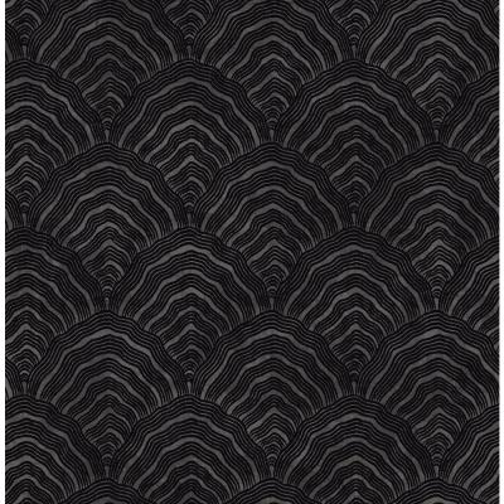 Confucius Ebony and Metallic Mocha Scallop Wallpaper