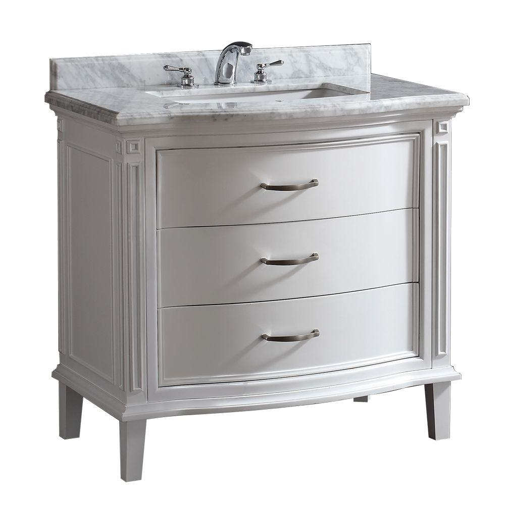 OVE Decors Sophie 40 in. W x 22 in. D Vanity in White with Carrara Marble Vanity Top in White with Basin