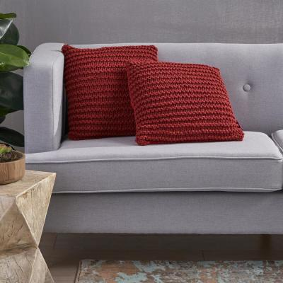 Farlie Burgundy Solid Cotton 17.25 in. x 6 in. Throw Pillow (Set of 2)