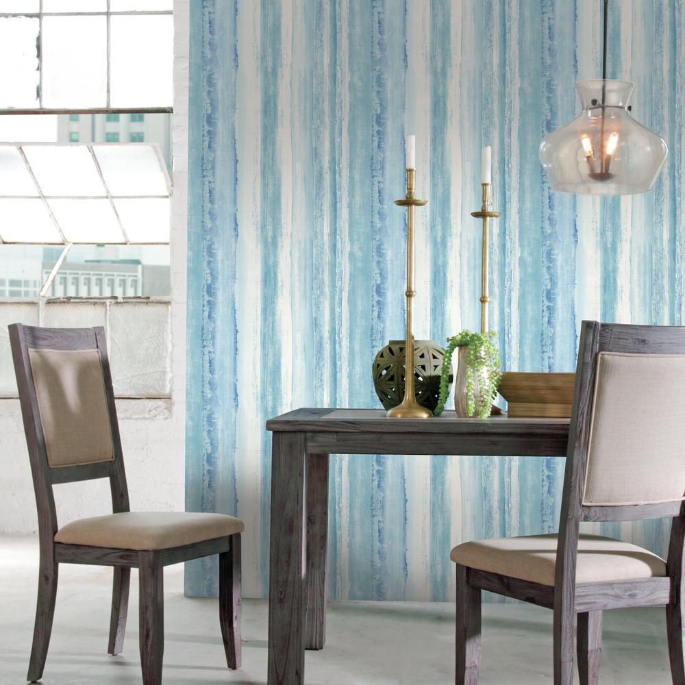 28.18 sq. ft. Blue Watercolor Stripe Peel and Stick Wallpaper
