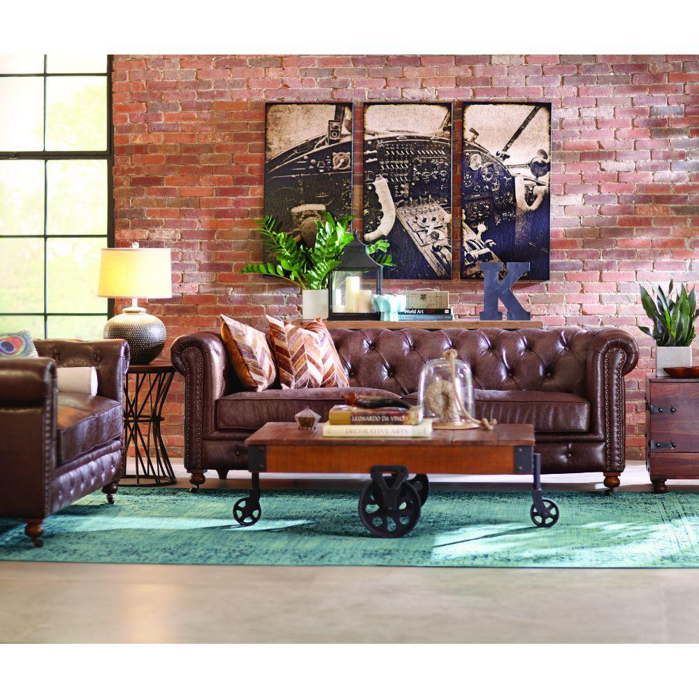 Home Decorators Collection Gordon Blue Leather Loveseat-0849500310 - The  Home Depot