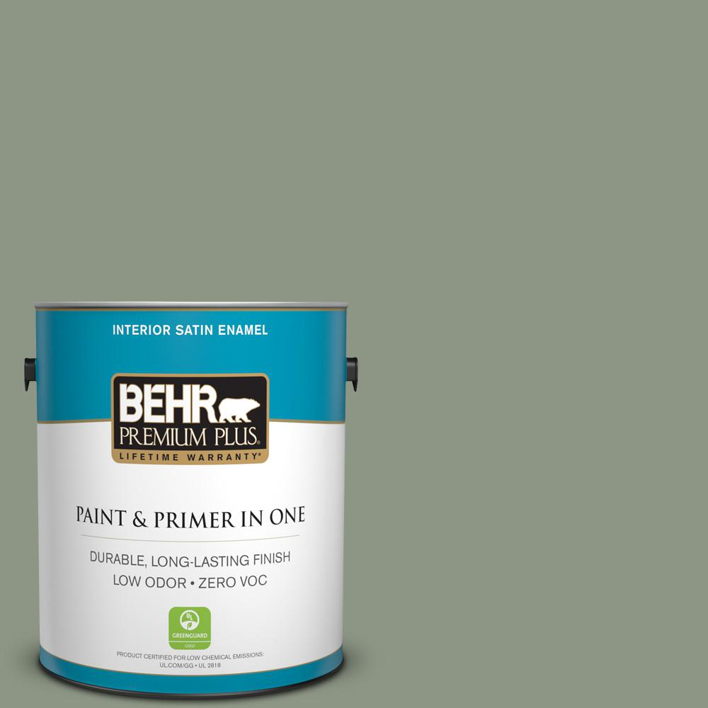 1 gal. #PPU11-17 Hillside Green Zero VOC Satin Enamel Interior Paint