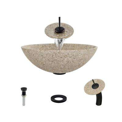 Stone Vessel Sink in Honed Basalt Tan Granite with Waterfall Faucet and Pop-Up Drain in Antique Bronze