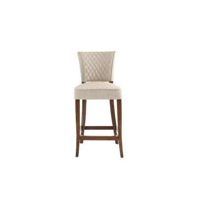 Cline Haze Oak Finish Upholstered Counter Stool with Back and Biscuit Beige Seat (19.69 in. W x 40.94 in. H)