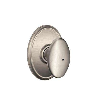 Siena Satin Nickel Privacy Bed/Bath Door Knob with Wakefield Trim