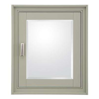 Shaelyn 24 in. W x 28 in. H Surface Mount Mirrored Medicine Cabinet in Sage Green