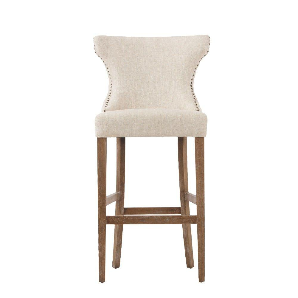Scarlett 30.5 in. Textured Natural Cushioned Bar Stool in Distressed Oak