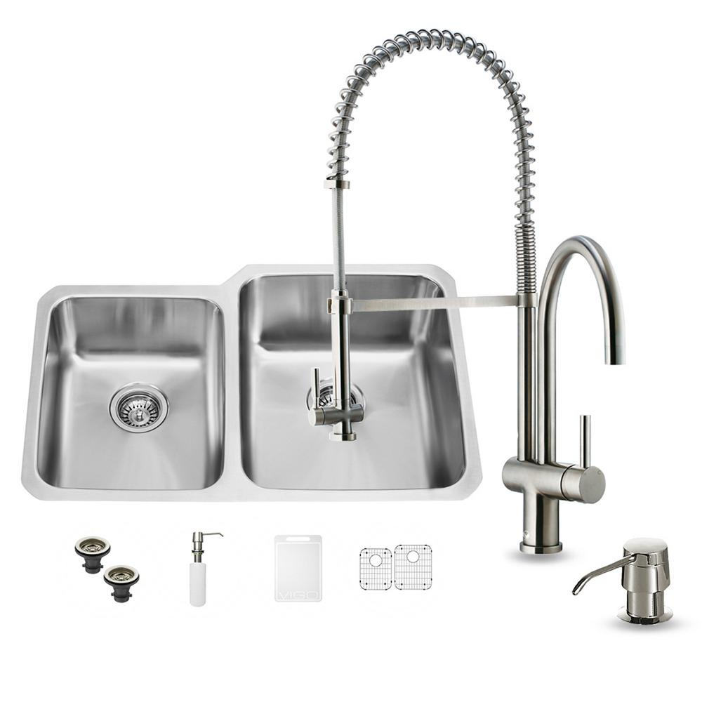 VIGO All-in-One Undermount Stainless Steel 32 in. 0-Hole Double Basin Kitchen Sink in Stainless Steel
