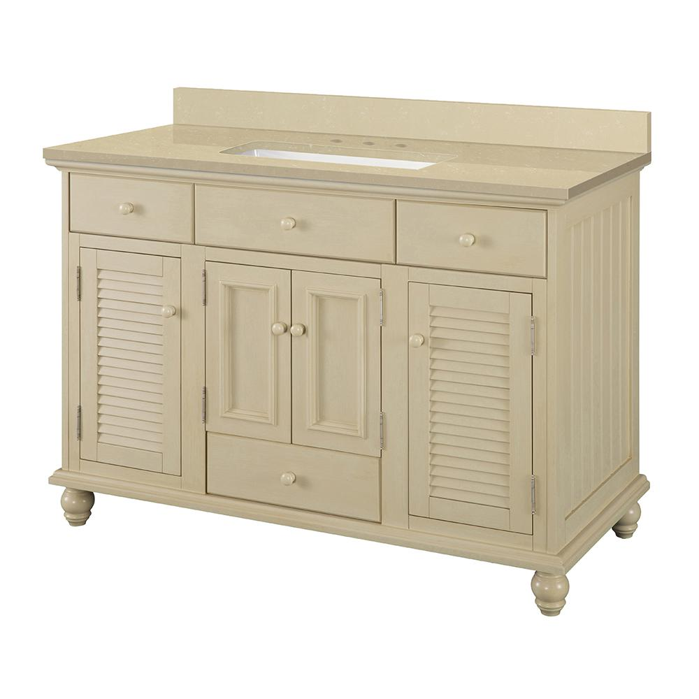 Home Decorators Collection Cottage 49 in. W x 22 in. D Vanity in Antique White with Engineered Marble Vanity Top in Crema Limestone with Sink
