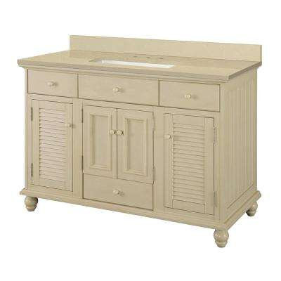 Cottage 49 in. W x 22 in. D Vanity in Antique White with Engineered Marble Vanity Top in Crema Limestone with Basin