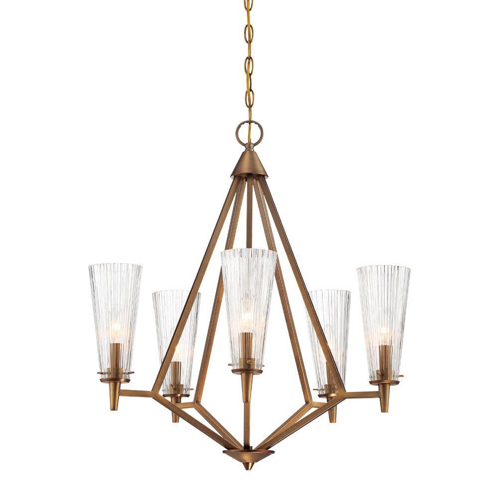 Montelena 5-Light Old Satin Brass Interior Chandelier