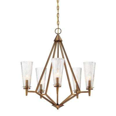 Designers fountain chandeliers lighting the home depot montelena 5 light old satin brass interior chandelier aloadofball Choice Image