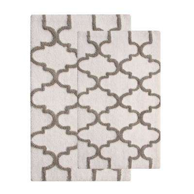 Geometric 2-Piece Set 24 in. x 17 in. in and 34 in. x 21 in. in Cotton Bath Rug White/Gray