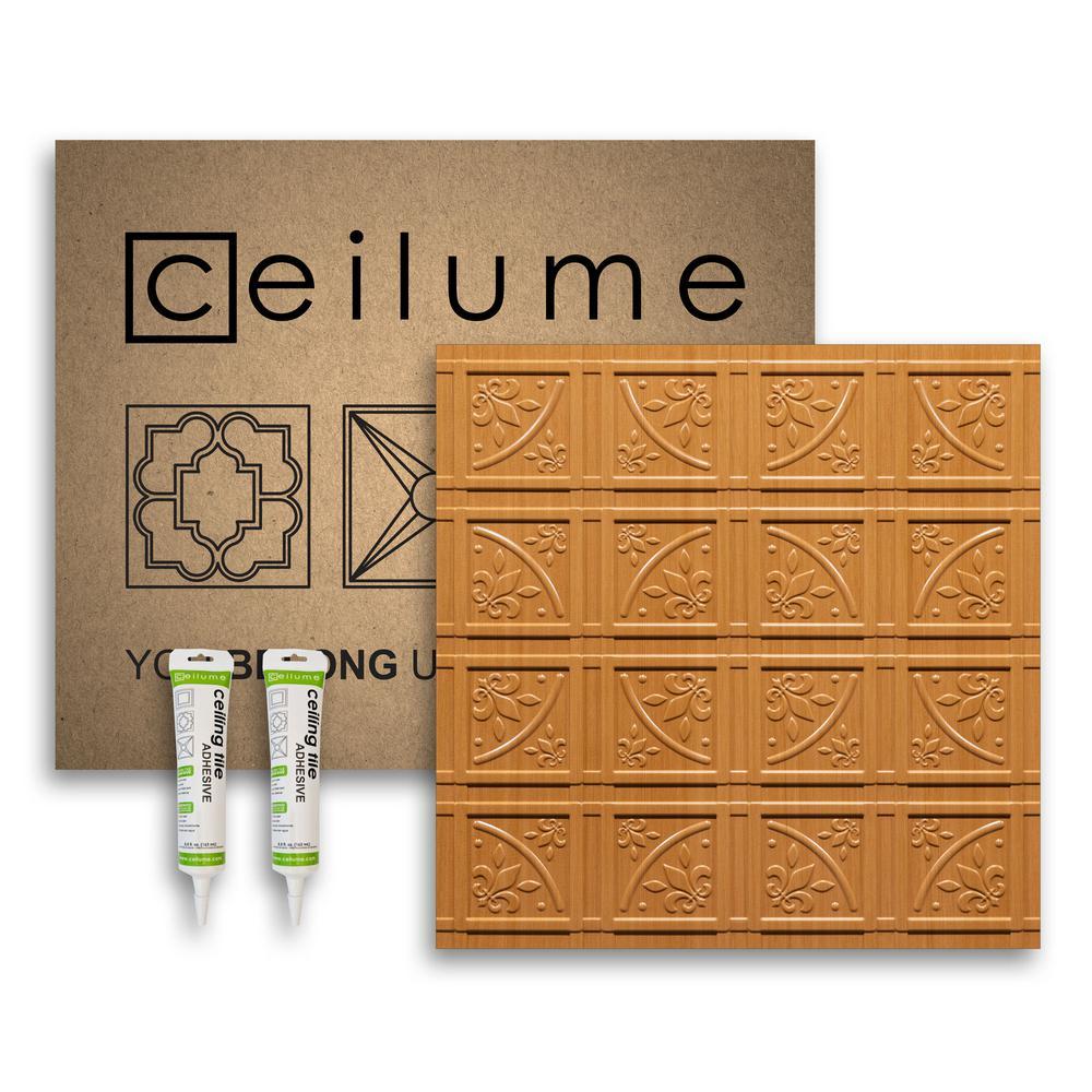 Lafayette Faux Wood-Caramel 2 ft. x 2 ft. Glue-up Ceiling Tile and Backsplash Kit