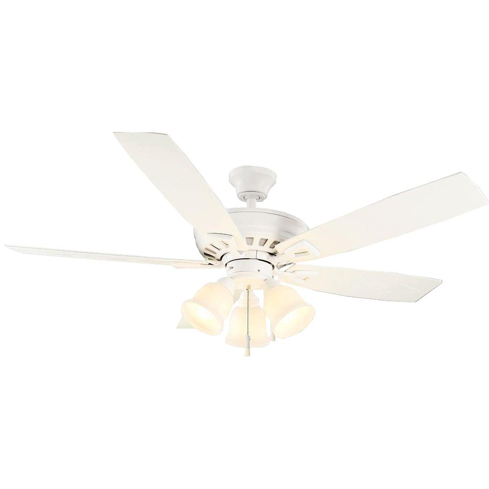 Gazelle 52 in. Indoor/Outdoor Matte White Ceiling Fan with Light Kit