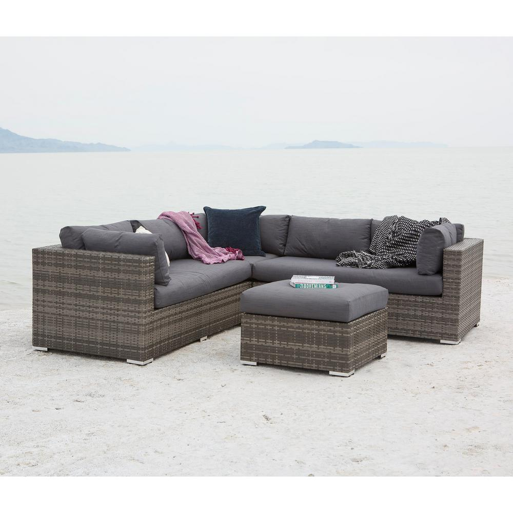 Wunderbar Gray 4 Piece Wicker Patio Conversation Set With Cushions