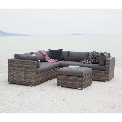 Gray 4-Piece Wicker Patio Conversation Set with Cushions