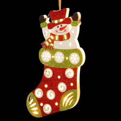 Pre-Lit 17 in. Wooden Stocking Snowman