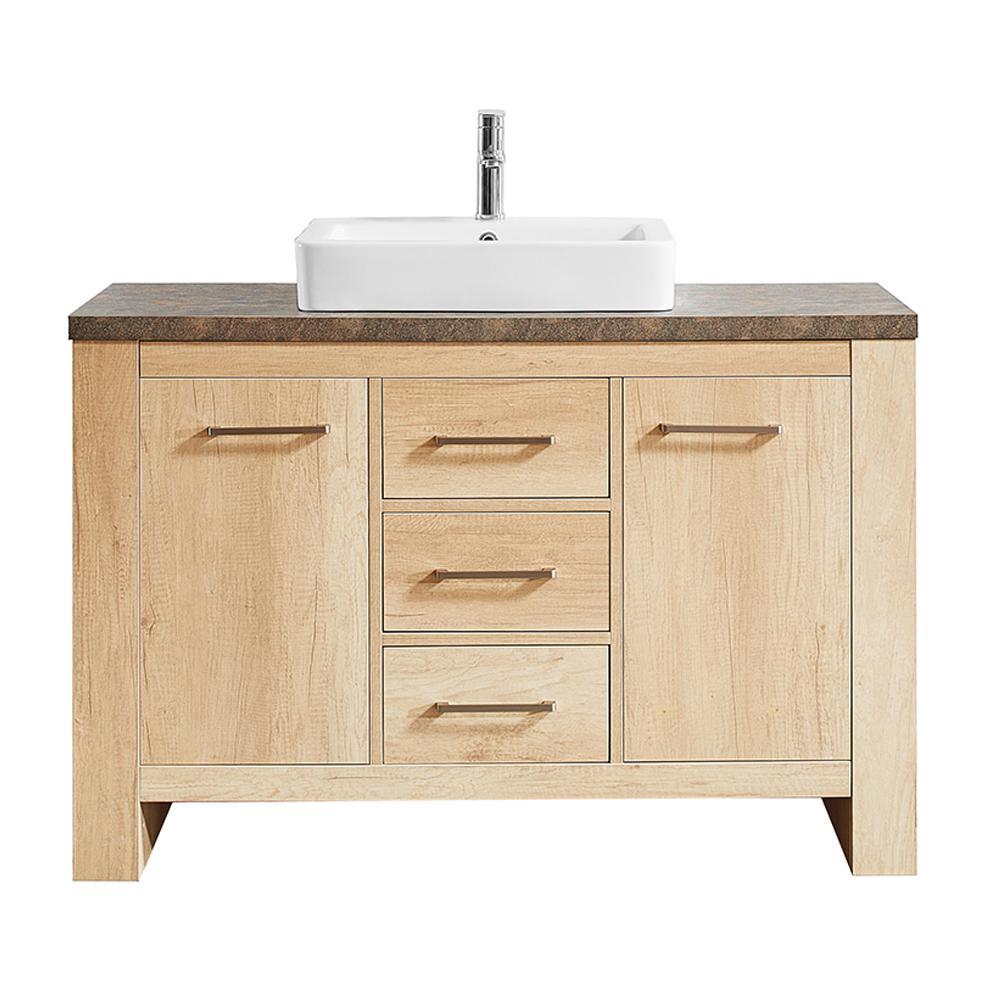 Vinnova Alpine 48 In W X 21 In D Bath Vanity In Oak With Melamine Vanity Top In Rustic Marble With White Basin