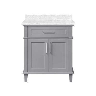 Sonoma 30 in. W x 22 in. D Bath Vanity in Pebble Gray with Carrara Marble Vanity Top in White with White Basin