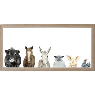 Farm Animals, Rustic Brown Frame, Magnetic Memo Board