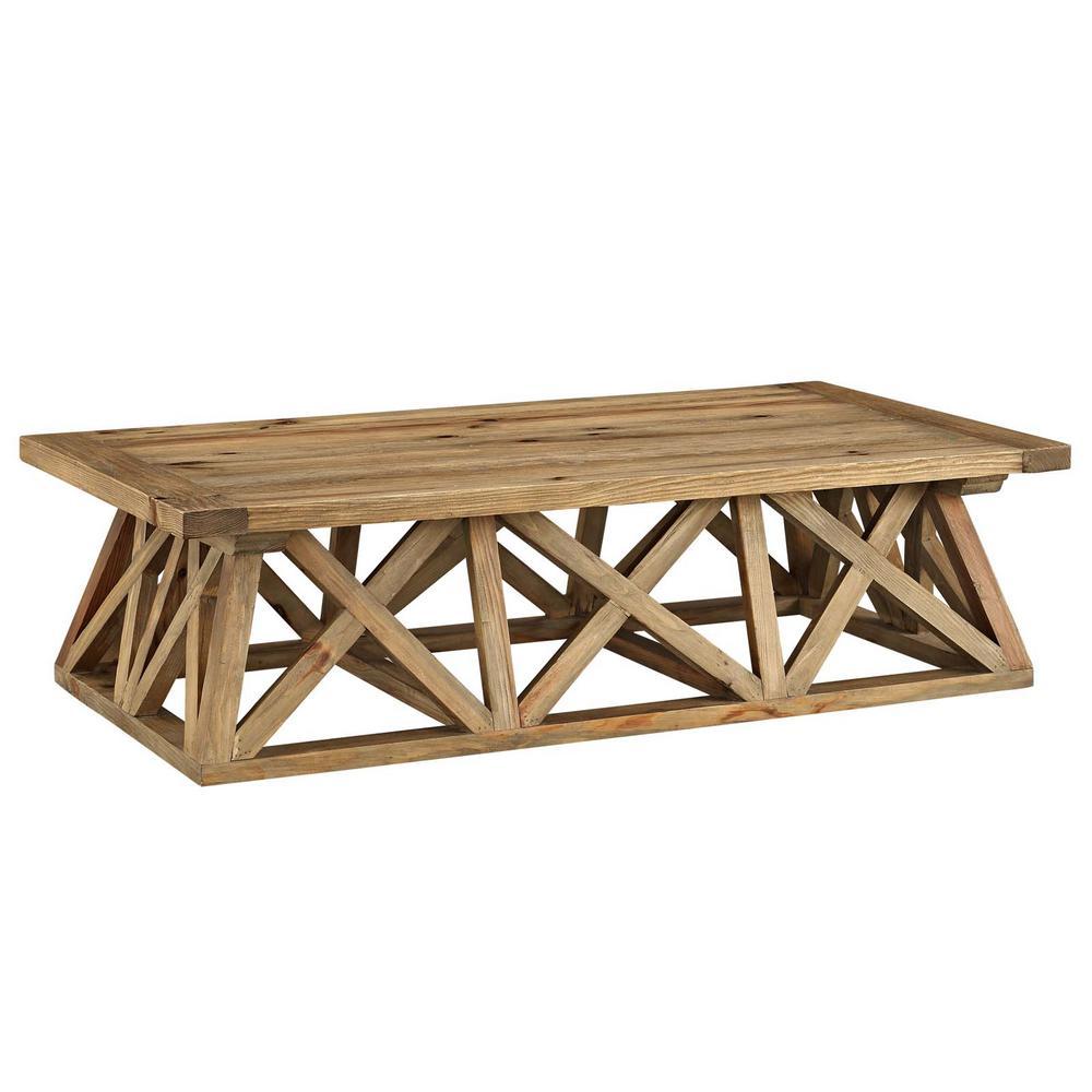 MODWAY Camp Brown Wood Coffee Table EEI-2649-BRN