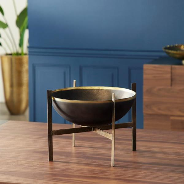 14 in. x 12 in. Elevated Bronze Glass Bowl on Metal Stand
