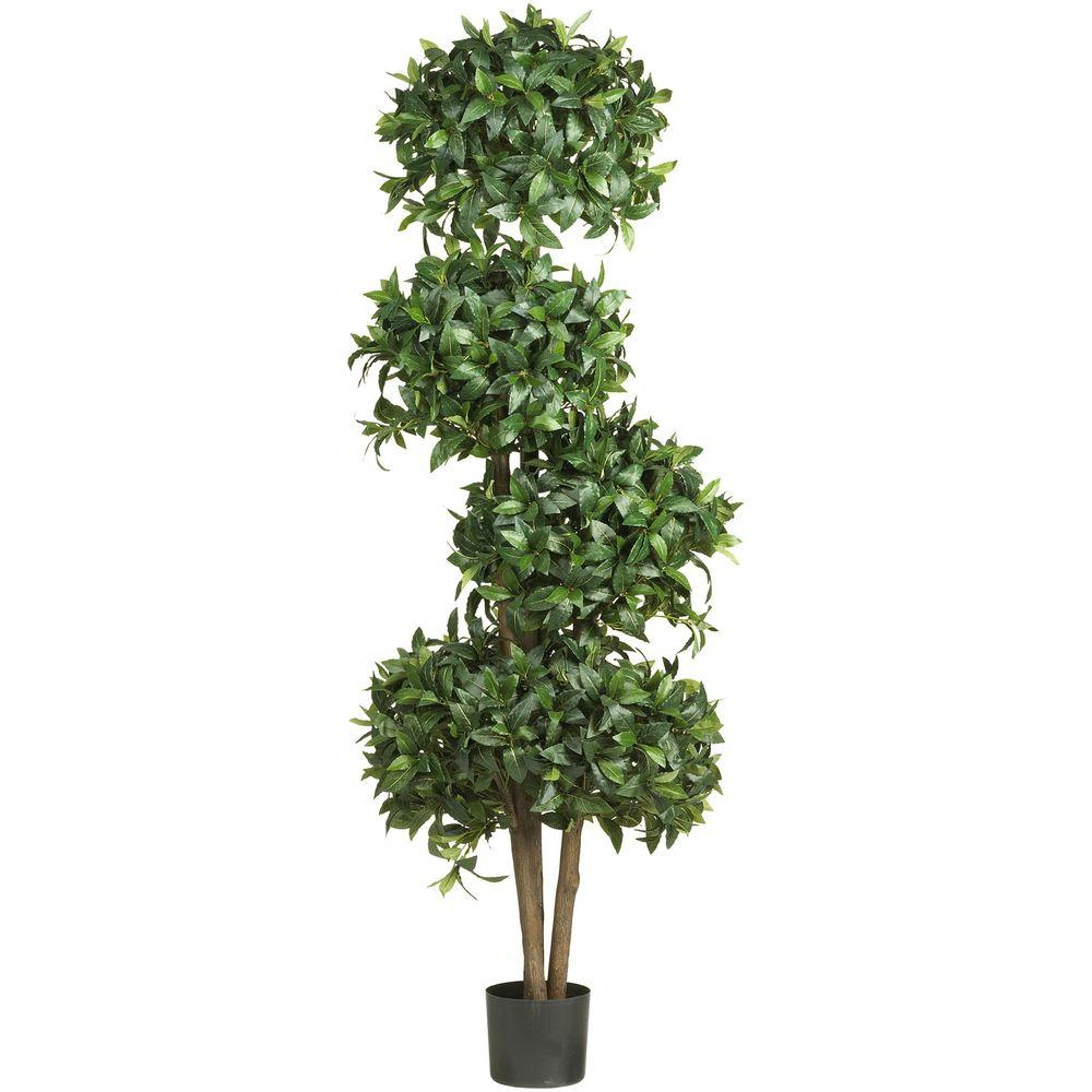 Nearly Natural 69 in. H Green Sweet Bay Topiary with 4 Balls Silk Tree
