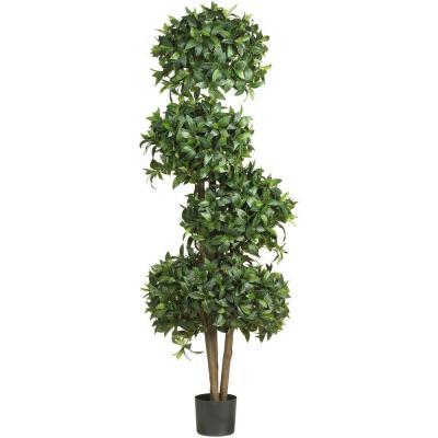 69 in. H Green Sweet Bay Topiary with 4 Balls Silk Tree