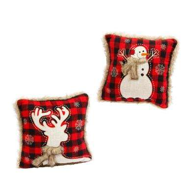 13 in. Red and Black Plaid Holiday Throw Pillows with Fur