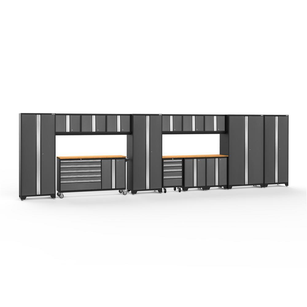 Bold 3.0 77.25 in. H x 276 in. W x 18 in. D 24-Gauge Welded Steel Garage Cabinet Set in Gray (15-Piece)